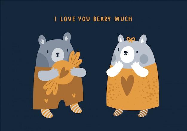 Adorabili orsacchiotti con cuori. san valentino, illustrazione di compleanno