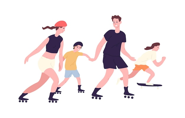 Adorabile famiglia su pattini a rotelle e skateboard. mamma, papà e bambini pattinaggio e skateboard. genitori e figli che svolgono attività ricreative all'aperto.