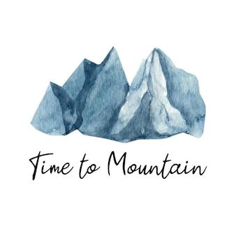 Adorabile montagna acquerello dipinta a mano