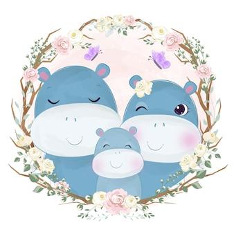 Adorabile ritratto di famiglia ippopotamo in acquerello