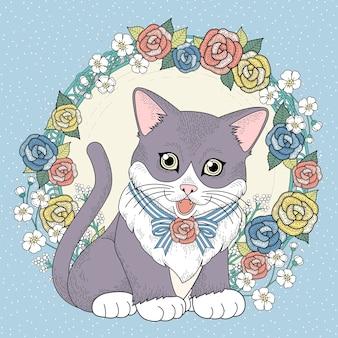 Pagina da colorare adorabile gattino con ghirlanda floreale in linea squisita