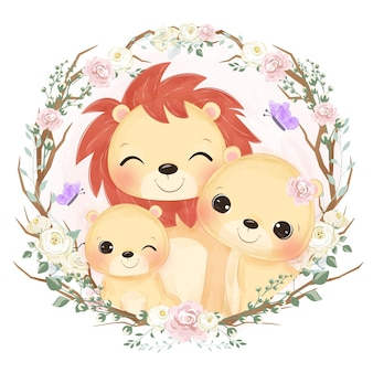 Adorabile ritratto di famiglia leone in acquerello