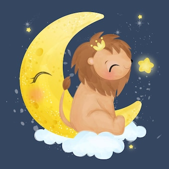 Adorabile leone che gioca con la stella in effetto acquerello