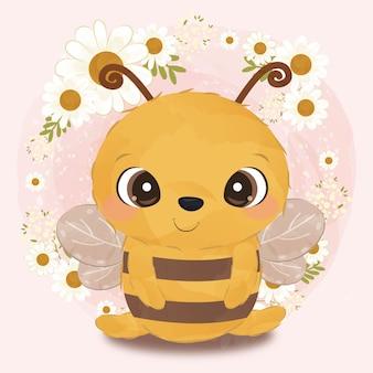 Adorabile piccola ape illustrazione in acquerello