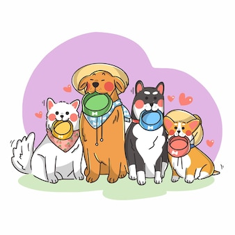 Adorabili cagnolini in coda per l'illustrazione di doodle di cibo