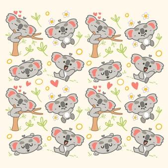 Adorable little koala hanging illustration Vettore Premium