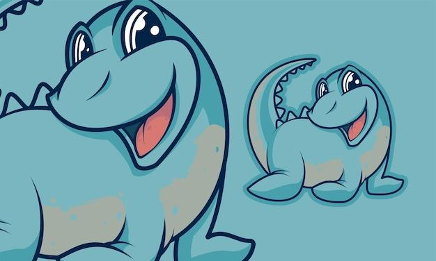 Adorabile piccolo dinosauro mascotte dei cartoni animati illustrazione vettoriale