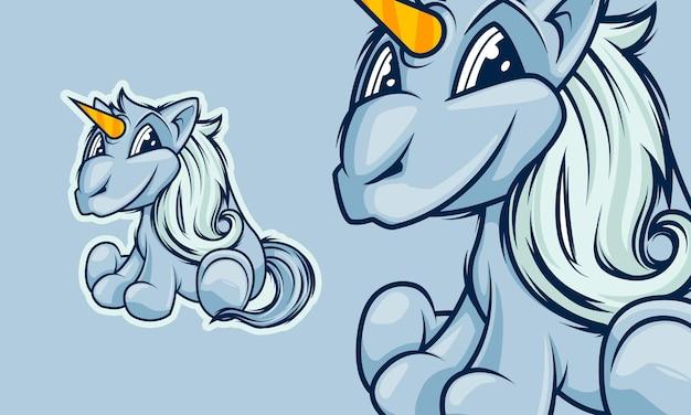 Adorabile piccolo unicorno mascotte dei cartoni animati illustrazione vettoriale