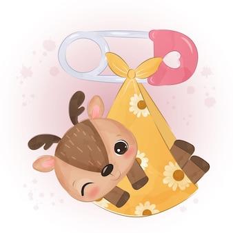Adorabile piccola illustrazione di renne in acquerello