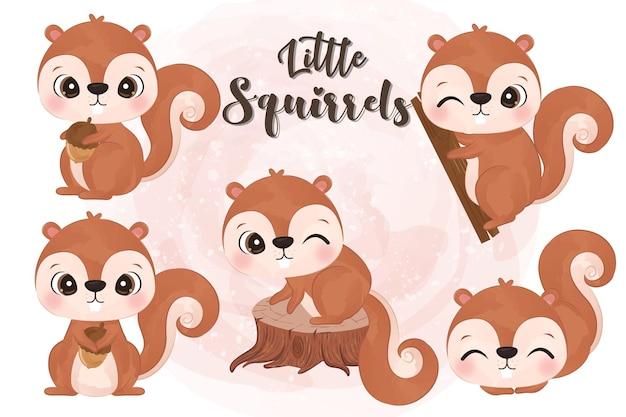 Adorabili piccoli scoiattoli illustrazione impostata in acquerello