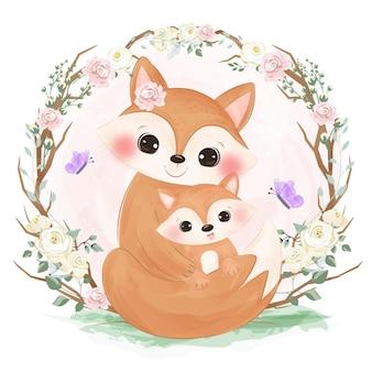 Adorabile mamma e piccola volpe in acquerello
