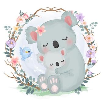 Adorabile mamma e bambino koala in acquerello