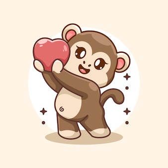 La scimmia adorabile sta dando un cartone animato ai cuori