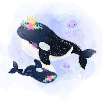Illustrazione adorabile della balena dell'orca, clipart animale, decorazione della doccia di bambino, illustrazione dell'acquerello.