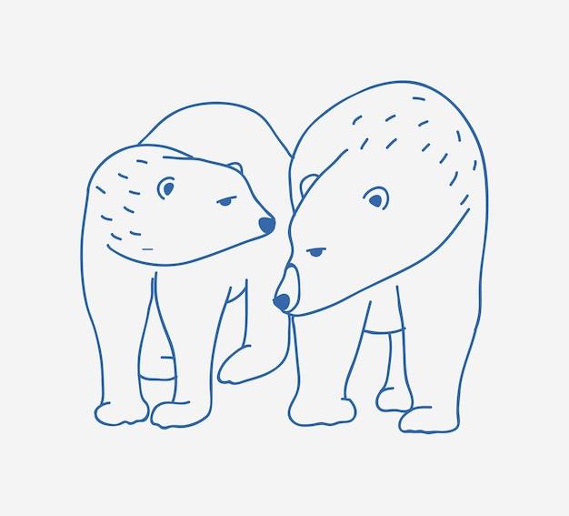 Adorabile coppia di orsi polari disegnati a mano con linee di contorno