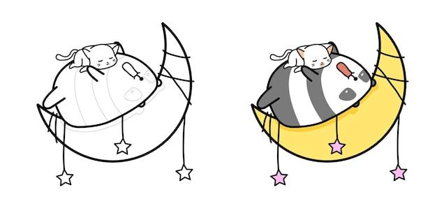 Adorabili panda e gatto stanno dormendo sulla pagina da colorare di cartoni animati luna per bambini
