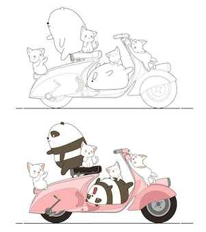 Adorabili panda e gatti con la pagina da colorare dei cartoni animati di moto per bambini Vettore Premium