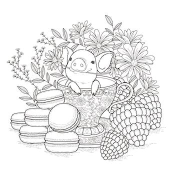 Pagina da colorare adorabile porcellino in stile squisito