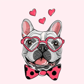 Adorabile cucciolo di pug con ciambella cuore rosa. bulldog francese in un cardigan a righe, in un divertente occhiali a cuore rosa