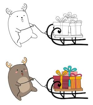 Adorabile renna sta trascinando una pagina da colorare dei cartoni animati di un veicolo a slitta Vettore Premium