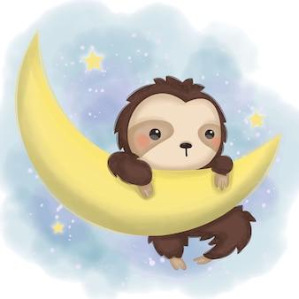 Adorabile bradipo appeso nell'illustrazione luna per la decorazione della scuola materna
