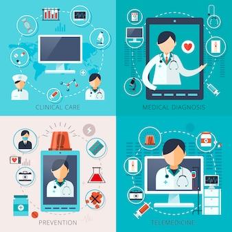 Adorabile raccolta di concetti di telemedicina in stile piatto