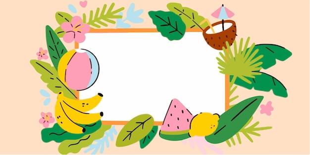 Adorabile estate tropicale cornice doodle illustrazione esclusiva