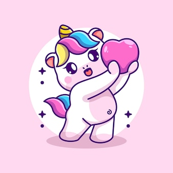 L'unicorno adorabile sta dando un cartone animato ai cuori hearts