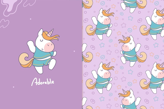 Adorabile unicorno senza cuciture
