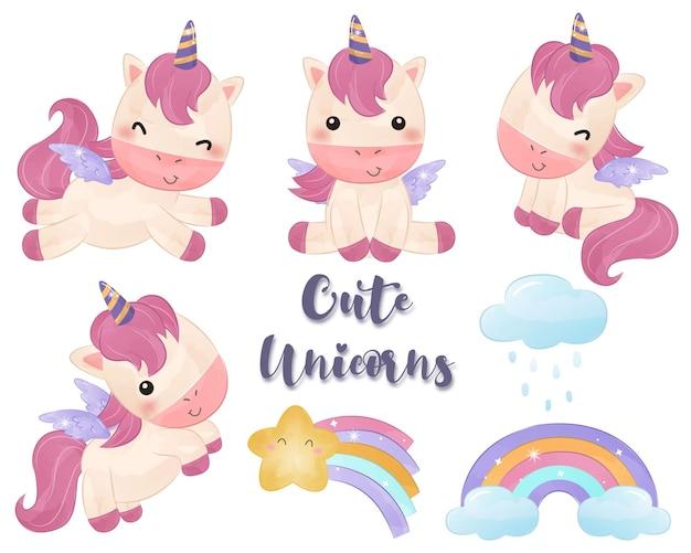 Adorabili illustrazioni di raccolta di unicorni in acquerello