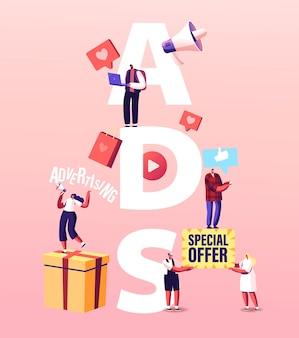 Illustrazione degli annunci. pubblicità di personaggi promotori, pubbliche relazioni e affari online