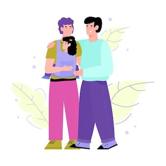Coppia omosessuale adulta con l'illustrazione piana di vettore del fumetto del bambino isolata
