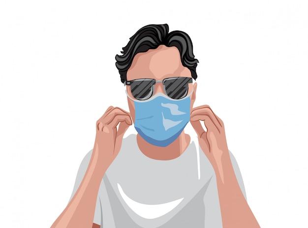 Adulto in maglietta bianca che indossa maschera medica protettiva e occhiali da sole