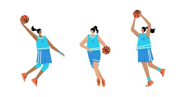 Personaggio d'azione dei cartoni animati di donna adulta. giocatore di basket con illustrazione vettoriale piatto palla isolato