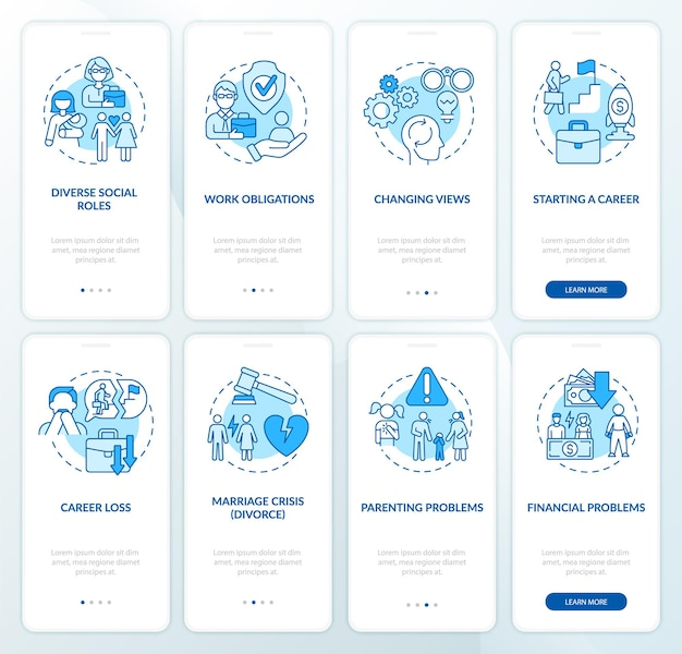 Set di schermate della pagina dell'app mobile per lo sviluppo dell'età adulta. modifica delle viste procedura dettagliata 4 passaggi istruzioni grafiche con concetti. modello vettoriale ui, ux, gui con illustrazioni a colori lineari