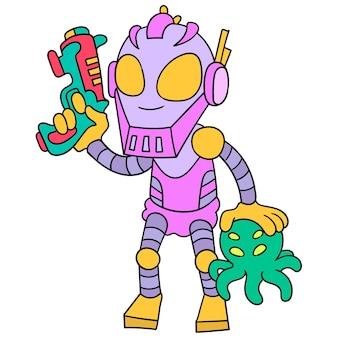 Robot avanzato che trasporta pistola laser cacciatore di alieni, illustrazione arte vettoriale. scarabocchiare icona immagine kawaii.