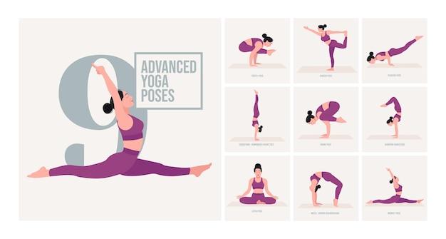 Posizioni yoga avanzate giovane donna che pratica posizioni yoga