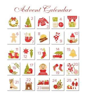 Calendario dell'avvento biglietti per le feste di natale per il conto alla rovescia