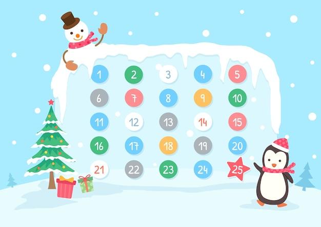 Calendario dell'avvento per le vacanze di natale con sfondo di neve pinguino e pupazzo di neve