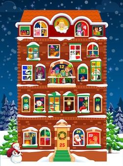 Modello di calendario dell'avvento della casa di natale con finestre di conto alla rovescia di vacanze invernali