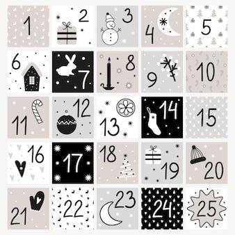 Modello di calendario dell'avvento calendario di natale in stile nordico per dicembre