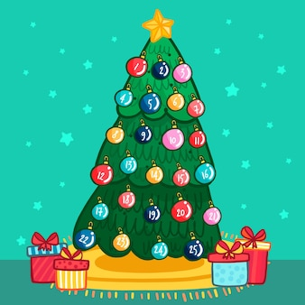 Calendario dell'avvento con palle di natale in un albero