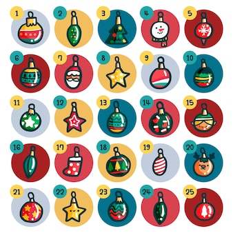 Calendario dell'avvento con palle di natale