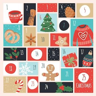Calendario dell'avvento con elementi natalizi.