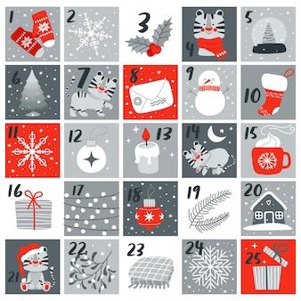 Calendario dell'avvento con simpatico simbolo della tigre dell'anno 2022 e illustrazione vettoriale dell'elemento natalizio