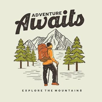 L'avventura attende l'illustrazione grafica della maglietta