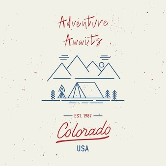 L'avventura ti aspetta con la scritta a mano del colorado. concetto di viaggio con schizzi ad acquerelli astratti.