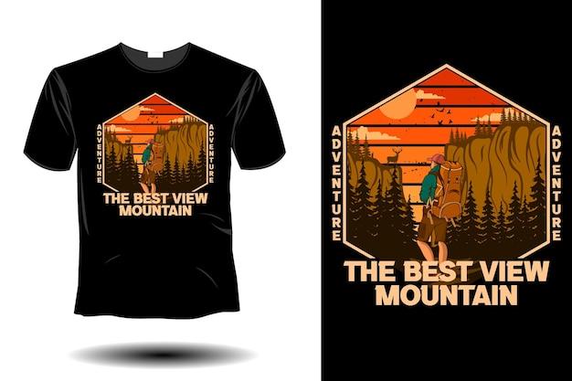 Avventurati nel design vintage retrò del mockup di montagna con la migliore vista