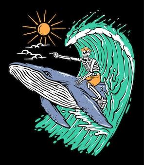 Avventura cavalcando un concetto di balena isolato sul nero