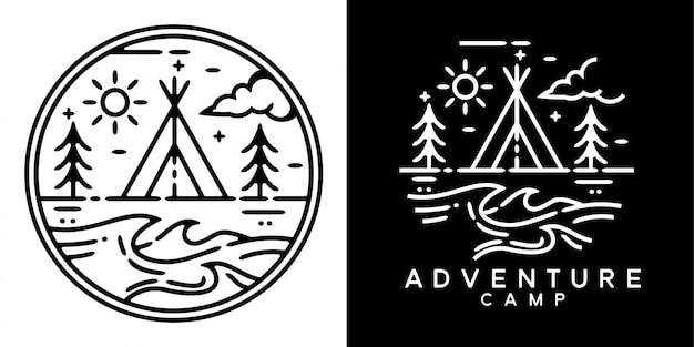 Design distintivo monoline campo avventura Vettore Premium